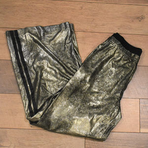 Free People Vegan Leather Gold Track Pants